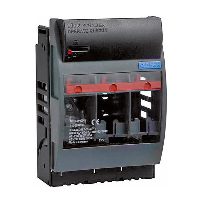 NH-Sicherungs-Lasttrenner 690 V AC, 3-polig, vorbereitet für Tragschienenmontage