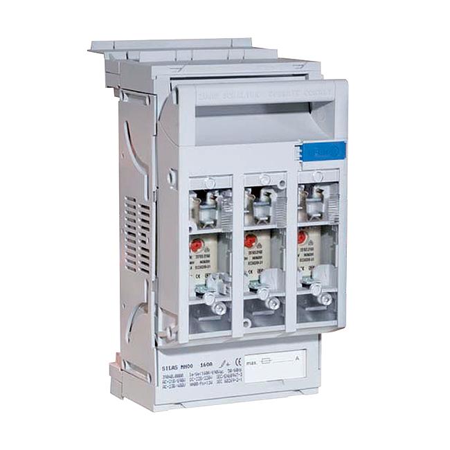 NH-Reiter-Sicherungs-Lasttrenner 690 V AC für 60 mm Schienensysteme, Einbautiefe 32 mm, Hakenkontaktierung, für die Kombination mit D0-Elementen