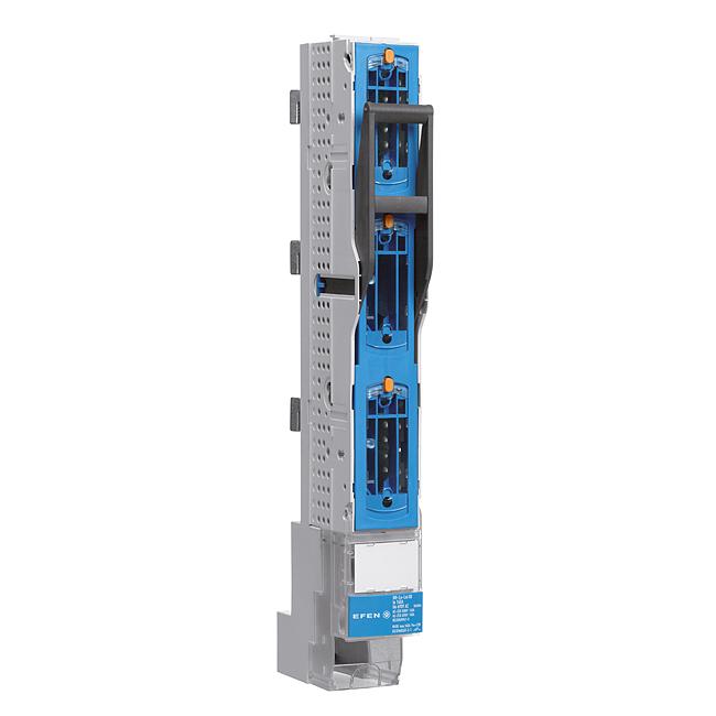E³-NH-Sicherungs-Lastschaltleitsten Größe 00/60, 3-polig schaltbar, 160 A, für 60 mm Sammelschienensysteme mit Hakenkontaktierung