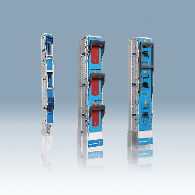 E³ NH Fuse-Switches, vertical design, 3-pole switching for 185 mm busbar systems