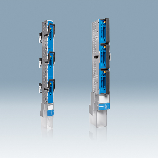 E³ NH Fuse-Switches, vertical design, 1-pole switching, for 100 mm and 185 mm busbar systems