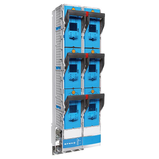 E³-NH-Sicherungs-Lastschaltleiste Größe 3, 1-polig schaltbar im Parallelbetrieb als Zwillingsleiste