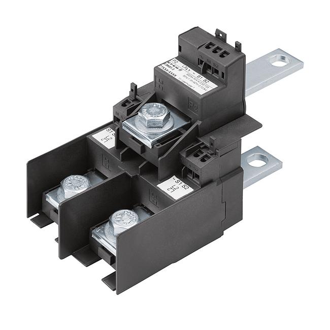 E³-Stromwandlerblock für E³-NH-Sicherungslastschaltleisten, Größe 1 - 3, für den Anschluss im Kabelabgang
