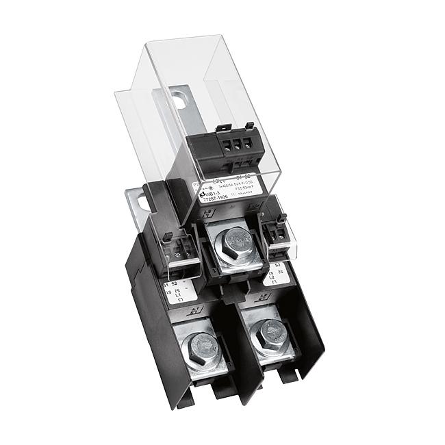 E³-Stromwandlerblock für E³-NH-Sicherungslastschaltleisten, Größe 1 - 3, für den Anschluss im Kabelabgang, konforme Ausführung nach Modul D für Verrechungszwecke