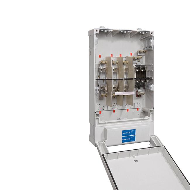 Kabel-Hausanschlusskasten KH1 / K12 nach DIN VDE 0660-505, 1 x 3NH00 + 1 x 3NH2, In = Σ 250 A